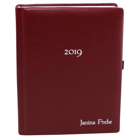 Taschenkalender DIN A5 mit weißer Namensprägung in vielen Farben