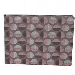 Gästebuch Swing quer in Altrosé – Gästebuch im roséfarbenen Stoffeinband aus Baumwolle mit kreisförmigem Webmuster