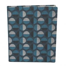 Gästebuch Swing hochkant in Blau – blaues Gästebuch im Stoffeinband mit schönem Webmuster aus Kreisformen