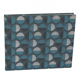 Gästebuch Swing quer in Blau – blaues Gästebuch im Stoffeinband aus Baumwolle mit kreisförmigem Webmuster