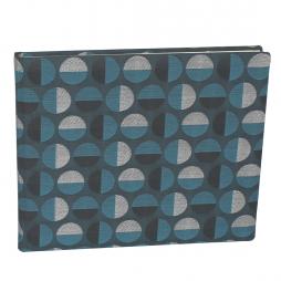 Gästebuch Swing Quer in Blau mit kreisförmigem Webmuster