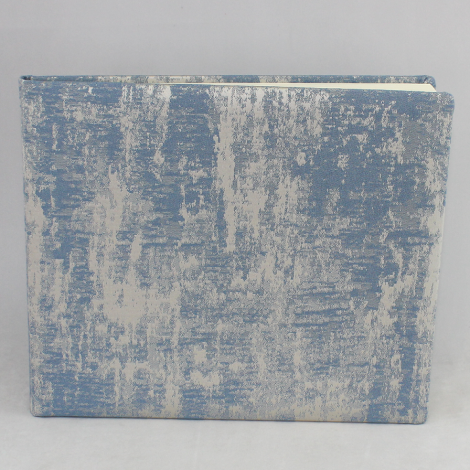 Gästebuch Anik quer in Blau – blau-silbergrau meliertes Gästebuch im Stoffeinband mit 144 blanko Seiten