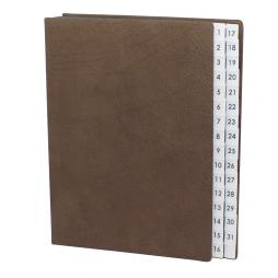 Pultordner aus Wasserbüffel Leder mit Register 1-31 – Lederpultordner mit Monatsregister Wasserbüffel