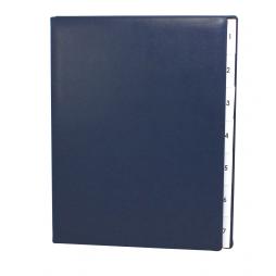 Pultordner mit Register 1-7 aus glattem Vollrindleder in Blau – Lederpultordner Wochenregister