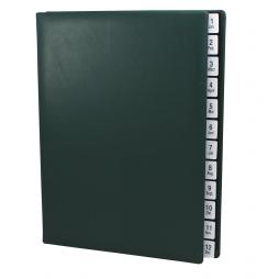 Pultordner mit Register 1-12 (Jan.-Dez.) aus glattem Vollrindleder in Grün – Lederpultordner mit Jahresregister