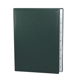 Pultordner mit Register 1-7 aus glattem Vollrindleder in Grün – Lederpultordner Wochenregister