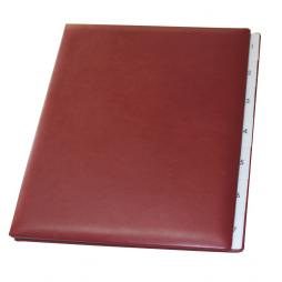 Pultordner mit Register 1-7 aus glattem Vollrindleder in Weinrot – Lederpultordner Wochenregister