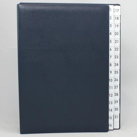 Pultordner mit Register 1-31 aus glattem Vollrindleder in Blau