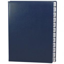 Pultordner mit Register 1-12 (Jan.-Dez.) aus glattem Vollrindleder in Blau – Lederpultordner mit Jahresregister