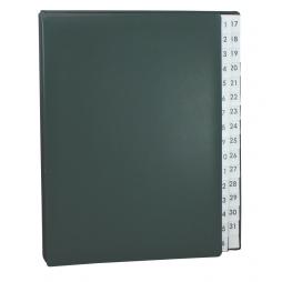 Pultordner mit Register 1-31 aus glattem Vollrindleder in Grün