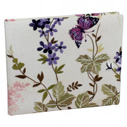 Gästebuch Milla im Querformat mit gestickten Blumen – Blankobuch mit besticktem Stoffeinband und buntem Blumenmotiv
