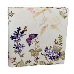 Fotoalbum Milla groß im Stoffeinband mit gestickten Blumen – bunte Blumenstickereien auf bedrucktem Leinen