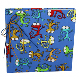Kinderalbum Gecko mit Kordelbindung – Fotoalbum im Stoffeinband mit bunten Geckomotiven bedruckt