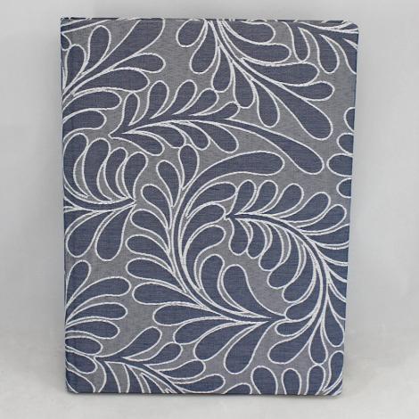 Gästebuch Zara hochkant in Blau mit Webmuster aus Blattranken – Blankobuch im Stoffeinband