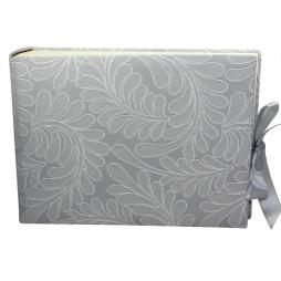 Foto-Gästebuch Zara in Grau mit raffiniertem Webmuster in Blattform und Schleife zum Verschließen