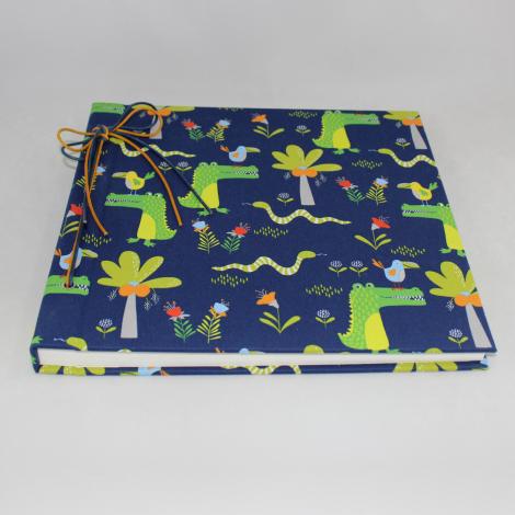 Kinderalbum Krokodil mit Kordelbindung M in Blau