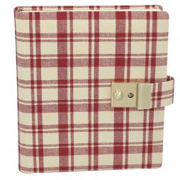 Tagebuch mit Schloss im Anne Frank Stil – kariertes Tagebuch in rot und beige, abschließbar