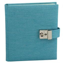 Tagebuch mit Schloss Candy in Blau – abschließbares blaues Tagebuch im Stoffeinband mit 144 blanko Seiten