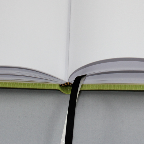 Gästebuch Multicolori hochkant in Apfelgrün – Blankobuch im Stoffeinband
