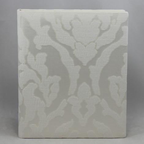 Gästebuch Davoli hochkant in Weiß – Blankobuch im Stoffeinband