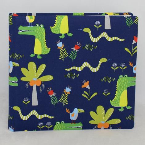 Tagebuch / Poesiealbum Krokodil blau im Stoffeinband mit bunten Krokodilmotiven