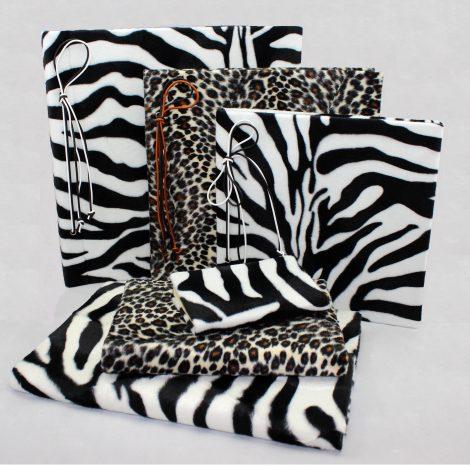 """Set """"Zebra"""" mit Stoffeinband im Wildlife Animalprint – Fotoalbum mit Kordelbindung + Notizbuch"""