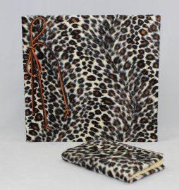 """Set """"Leopard"""" mit Stoffeinband im Wildlife Animalprint – Fotoalbum mit Kordelbindung + Notizbuch"""