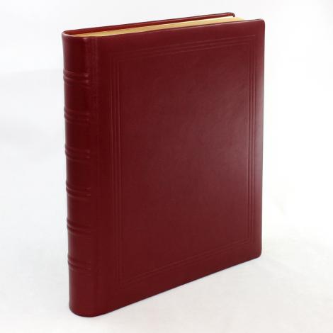 Gästebuch dick aus weinrotem glatten Leder mit Goldschnittblock