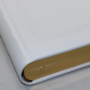 Gästebuch dick aus glattem Leder in weiß mit individueller Prägung und Goldrand