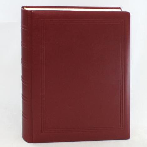 Gästebuch dick aus glattem Vollrindleder in Weinrot mit handgerissenem Büttenblock