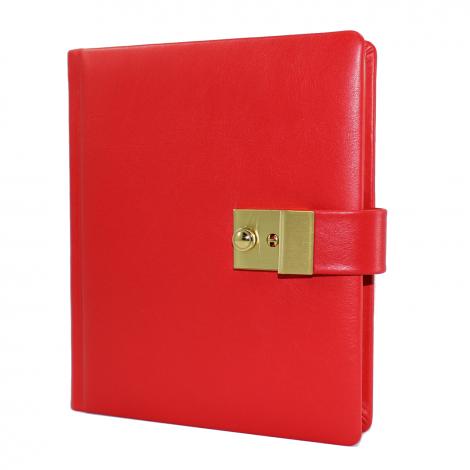 Tagebuch mit Schloss aus glattem rotem Leder mit Goldschnittblock