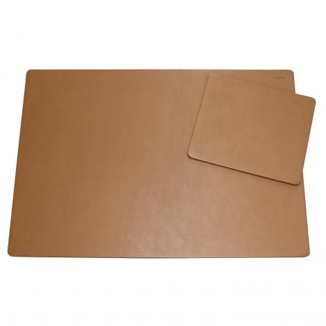 Schreibtischunterlage Leder mit Mousepad cognac