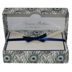 Geschenkbox Kartenset Pfauenfeder