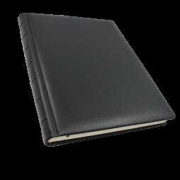 Kondolenzbuch aus schwarzem Leder mit Trauerrand