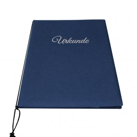Urkundenmappe aus dunkelblauen Buchbinderleinen