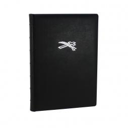 Dickes Kondolenzbuch aus Leder in Schwarz mit Büttenrand und Prägung