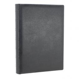 Dickes Kondolenzbuch aus Leder in Schwarz mit Büttenrand