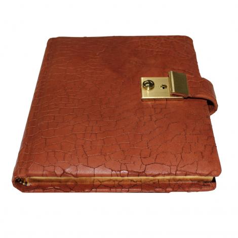 Tagebuch aus gebrochenem Leder mit Goldschnittblock in Braun