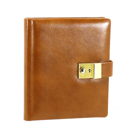 Tagebuch aus glattem Leder mit Goldschnittblock in Cognac
