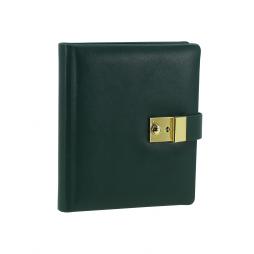 Tagebuch aus glattem Leder mit Goldschnittblock in Grün