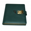 Tagebuch mit Schloss und Schlüssel aus glattem Leder mit Goldschnittblock in Grün