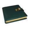 Tagebuch mit Schloss aus hochwertigem glattem Leder mit Goldschnittblock in Grün