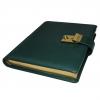 Tagebuch mit goldenem Schloss aus glattem Leder mit Goldschnittblock in Grün