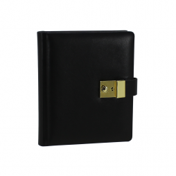 Tagebuch aus glattem Leder mit Goldschnittblock in Schwarz