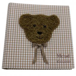 Kinderalbum Karo in braun mit Teddy inklusive Namensprägung